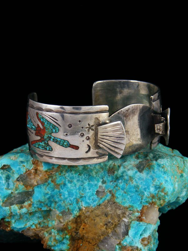 Old Pawn Indian Jewelry Sterling Silver Chip Inlay Turquoise Cuff Watch