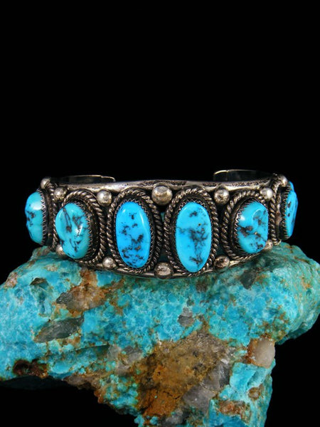 Old Estate Native American Sterling Silver Turquoise Bracelet