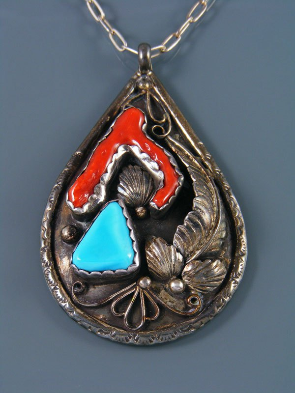 Old Indian Jewelry Sterling Silver Turquoise and Coral Pendant