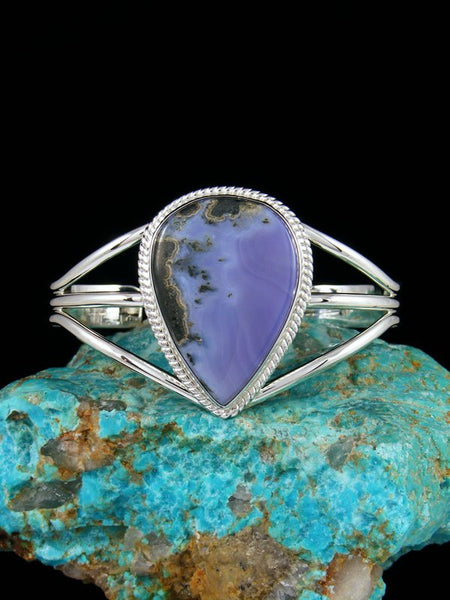 Native American Purple Moss Agate Sterling Silver Cuff Bracelet