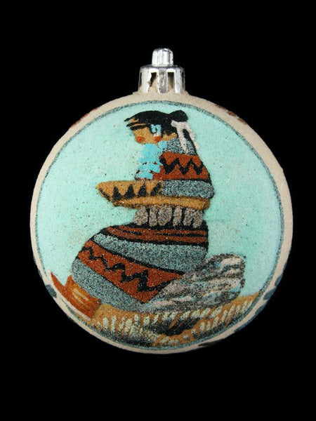 Navajo Sand Painted Ornament, Navajo Girl Design