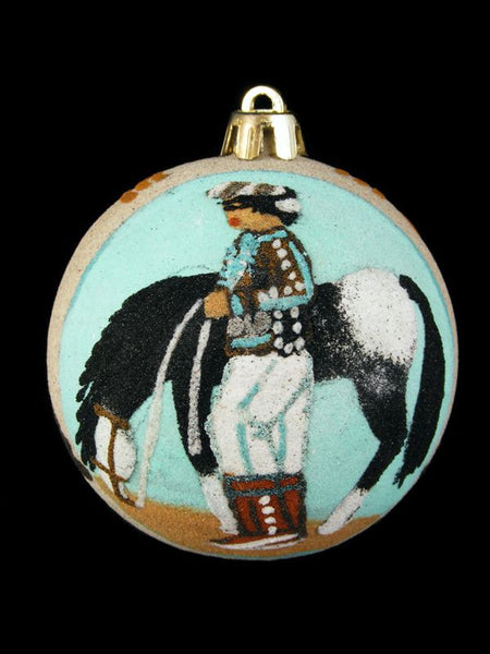 Navajo Sand Painted Ornament, Horse and Rider Design