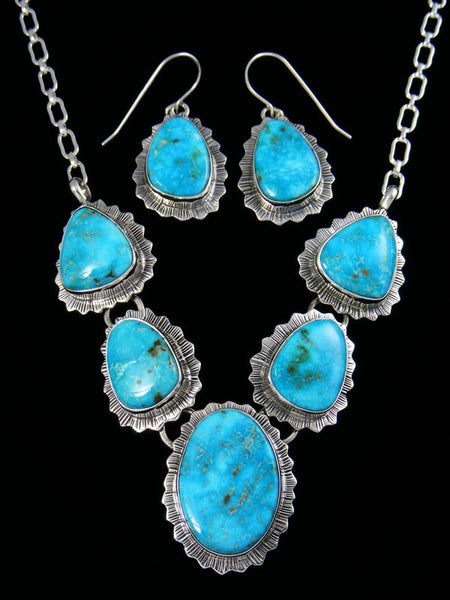 Native American Sterling Silver Kingman Necklace Set