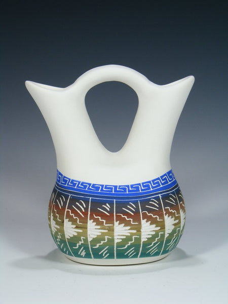 Painted Etched Navajo Pottery Wedding Vase
