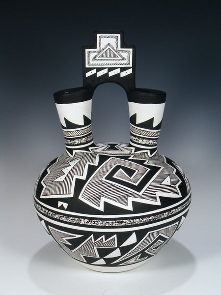 Acoma Pueblo Pottery Geometric Black and White Wedding Vase