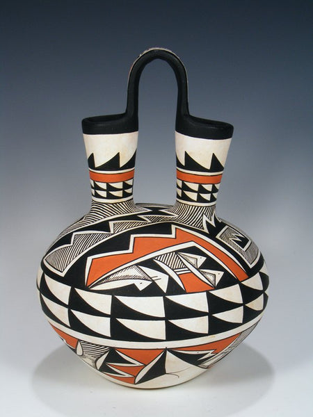 Acoma Pueblo Pottery Geometric Painted Wedding Vase