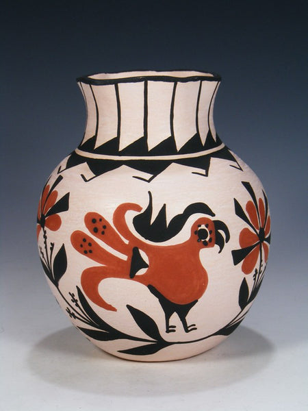 Acoma Pueblo Hand Coiled Pottery Parrot Jar