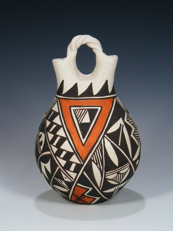 Acoma Pueblo Hand Coiled Pottery Wedding Vase