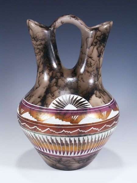 Painted Etched Navajo Horsehair Pottery Wedding Vase