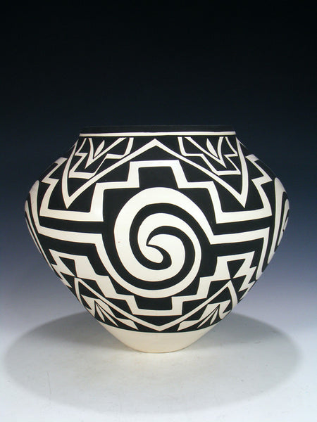 Large Geometric Acoma Pueblo Painted Pottery Bowl