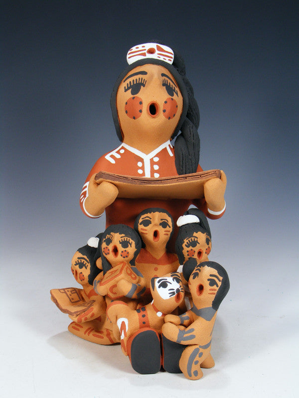 Jemez Pueblo Pottery Storyteller 5 Baby with Cat Family