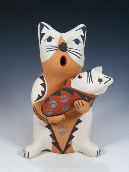 Jemez Pueblo Pottery Storyteller Cat Family