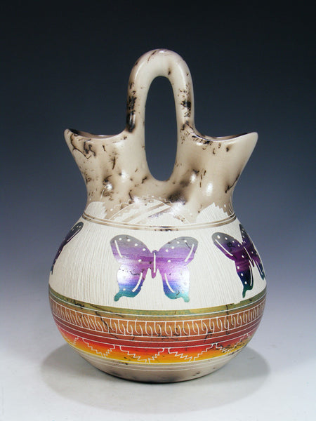 Rainbow Etched Horsehair Pottery Butterfly Wedding Vase