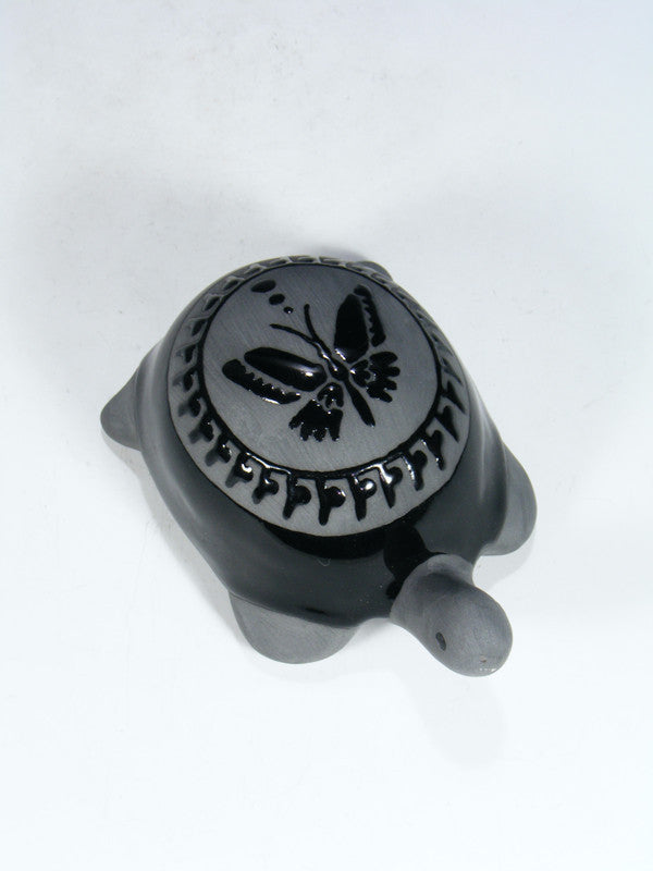 San Juan Pueblo Black Pottery Butterfly Turtle