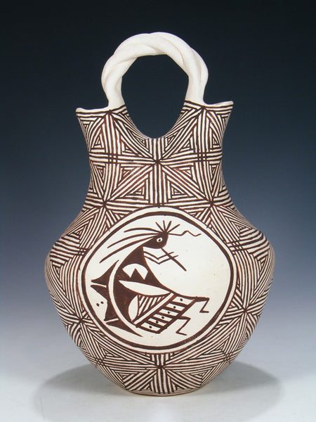 Acoma Pueblo Hand Coiled Kokopelli Pottery Wedding Vase