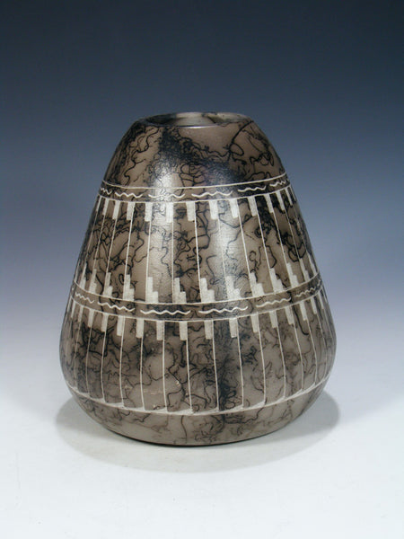 Etched Horsehair Pottery Vase