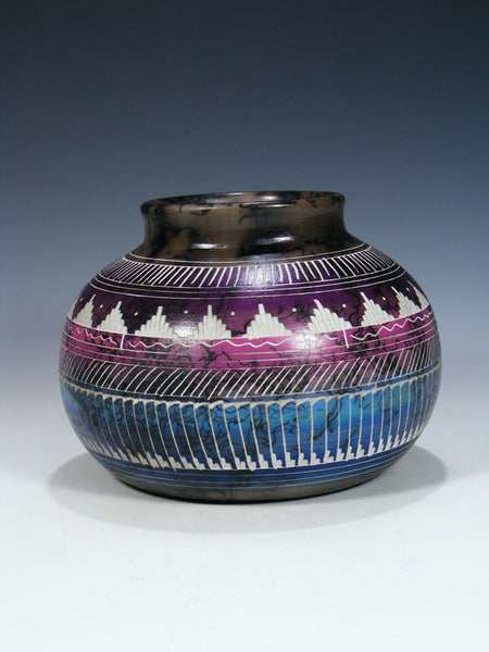 Etched Pueblo Painted Horsehair Pottery Vase