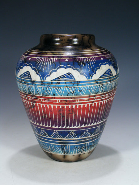 Etched Pueblo Horsehair Pottery Seed Vase