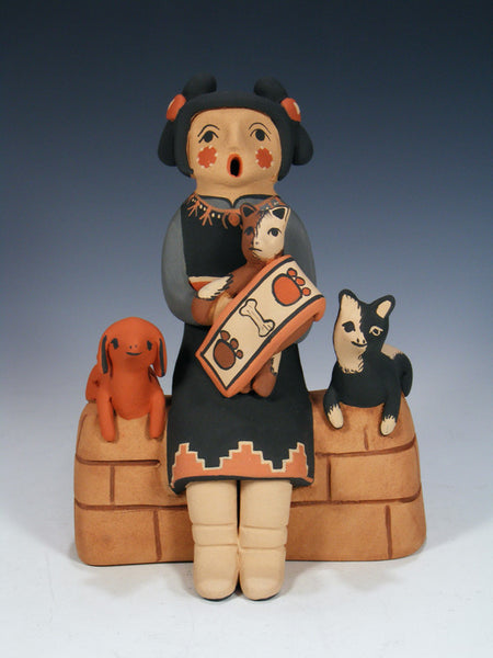 Jemez Pueblo Pottery Storyteller Cat and Dog Family