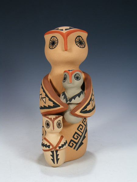 Jemez Pueblo Two Baby Storyteller Owl Family Doll