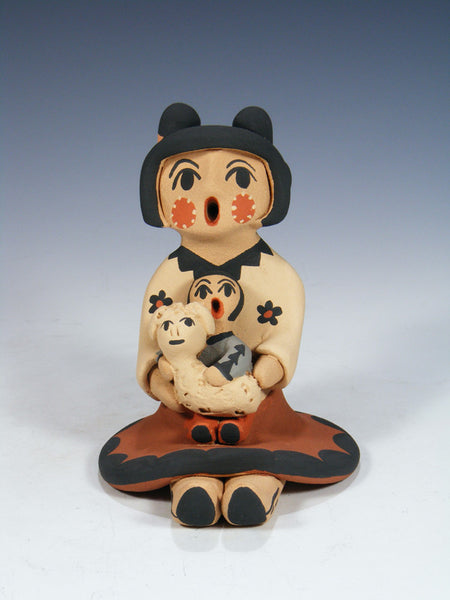 Jemez Pueblo Pottery Child With Lamb Storyteller