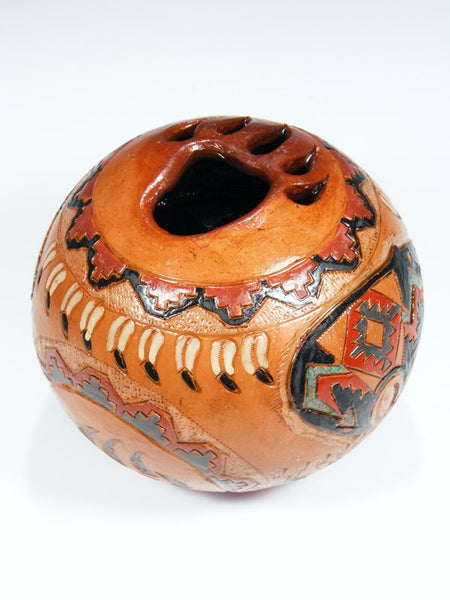 Navajo Hand Coiled Pine Pitch Carved Pottery