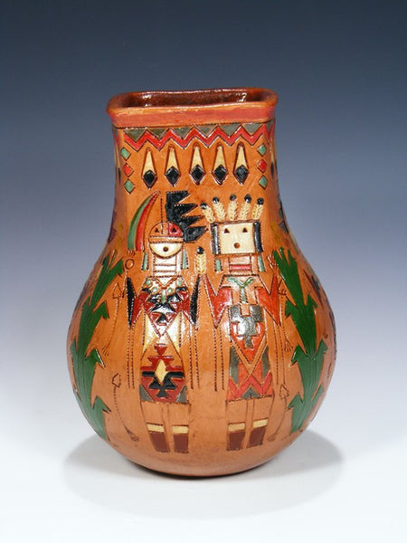 Navajo Hand Coiled Pine Pitch Carved Pottery Vase