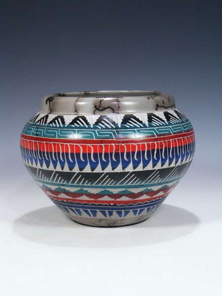 Navajo Etched Horsehair Pottery Bowl