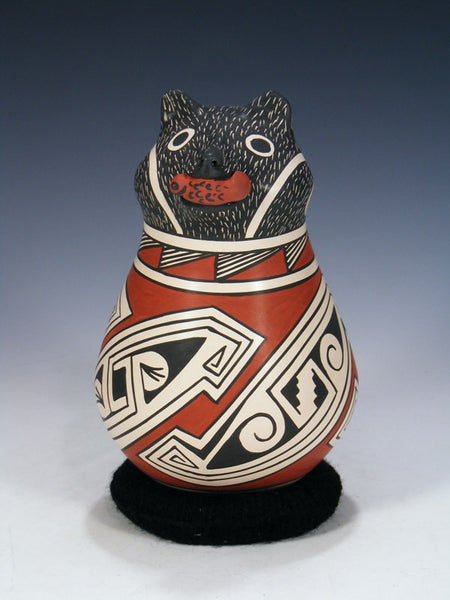 Mata Ortiz Hand Coiled Bear Pottery