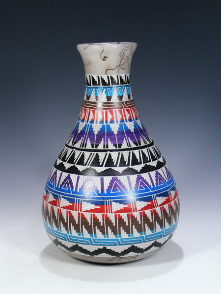 Navajo Rug Pattern Etched Horsehair Pottery Vase