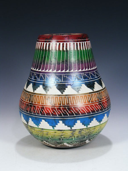 Etched Horsehair Painted Pottery Vase