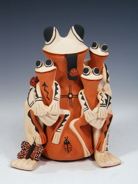 Jemez Pueblo Pottery Frog Family Storyteller by Carol Lucero Gachupin - PuebloDirect.com - 1
