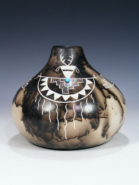Etched Horsehair Pottery With Turquoise