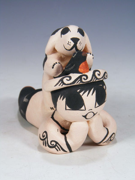 Acoma Pueblo Hand Made Pottery Storyteller Boy with Cat