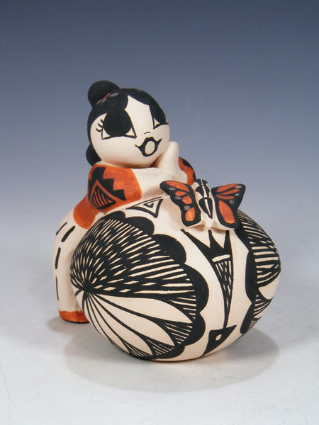 Acoma Pueblo Hand Made Storyteller Girl with Pottery
