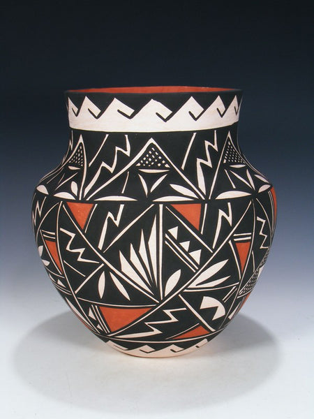 Acoma Pueblo Hand Coiled Geometric Pottery Olla