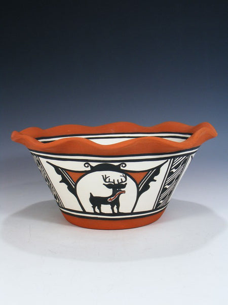 Zuni Pueblo Hand Made Heartline Deer Bowl