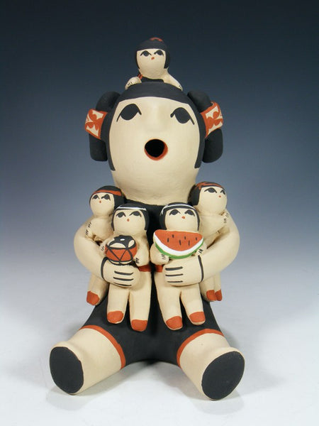 Jemez Pueblo Pottery 5 Children Storyteller Figurine