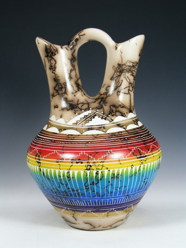 Rainbow Etched Horsehair Pottery Wedding Vase