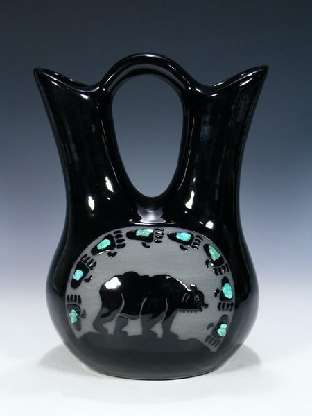 San Juan Pueblo Black Pottery Bear Wedding Vase
