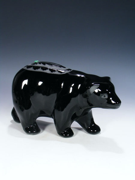 San Juan Pueblo Black Pottery Bear
