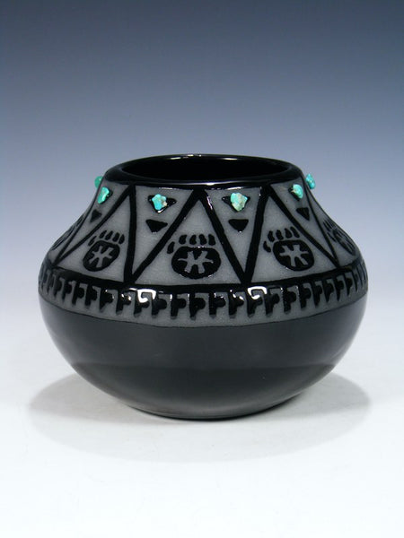 San Juan Pueblo Black Pottery Bear Claw Bowl
