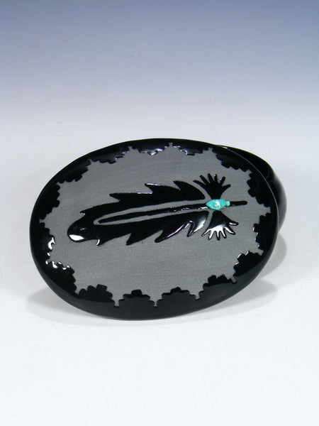 San Juan Pueblo Black Pottery Feather Jewelry Box