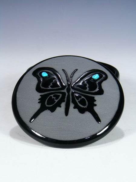San Juan Pueblo Black Pottery Butterfly Jewelry Box