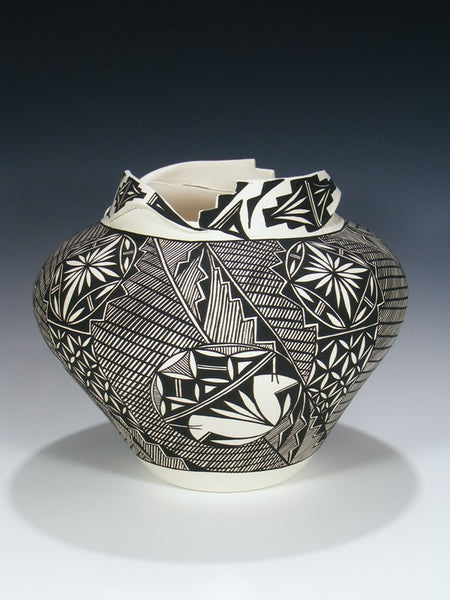 Acoma Pueblo Hand Painted Geometric Pottery Bowl
