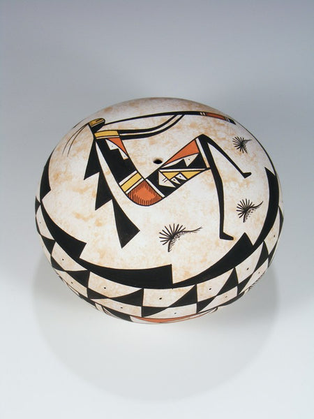 Acoma Pueblo Flute Player Hand Coiled Pottery Seed Pot