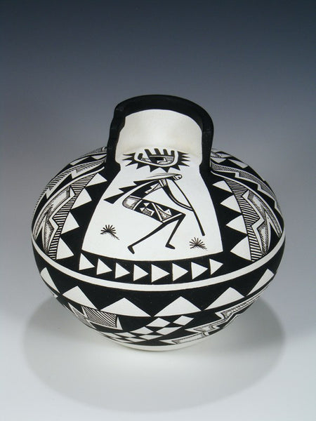 Hand Coiled Acoma Pueblo Flute Player Pottery Bowl