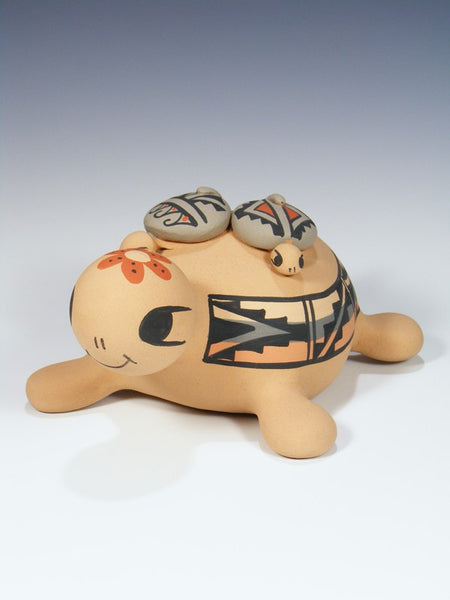 Jemez Pueblo Pottery Turtle Family Storyteller