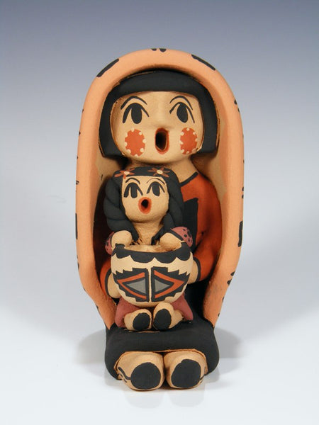 Jemez Pueblo Pottery Child With Bowl Storyteller