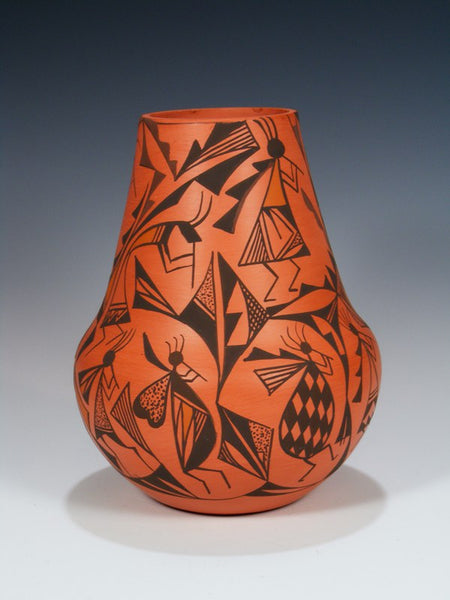Acoma Pueblo Pottery Hand Painted Red Clay Vase